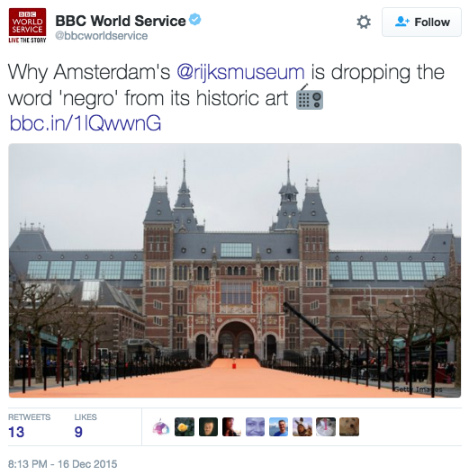 Why Amsterdam's Rijksmuseum is dropping the world 'negro' from its historic art