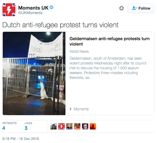Dutch anti-refugee protest turns violent