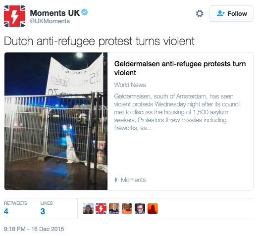 Dutch anti-refugee protest turns violent