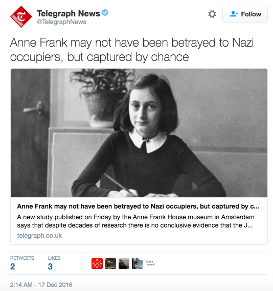 Anne Frank may not have been betrayed by Nazi occupiers, but captured by chance